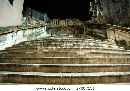 Big Stairs in Dubrovnik by rainy night, Croatia. - stock photo