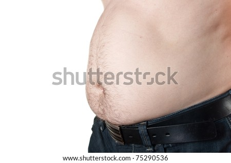 Big stomach on a fat man isolated over white background - stock photo