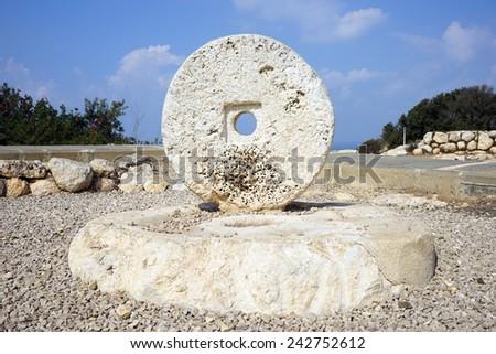Big stone circle from the ancient fsrm Hirbat Akav, Israel                                - stock photo