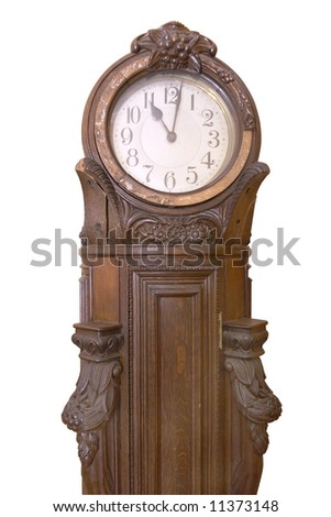 Big striking clock of 18 century. Beautiful craftsmanship example of German engravers on wood.