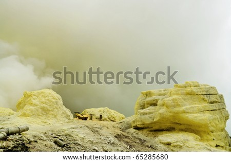 Big sulfur mine - stock photo