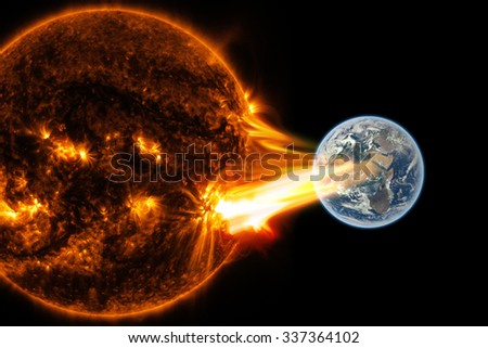 Big sun eruption -  Elements of this image furnished by NASA - stock photo