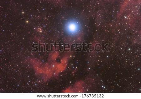 Big supernova nebula in the constellation of Swan.  - stock photo
