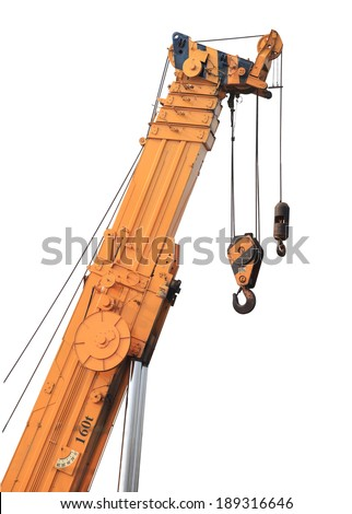 Big supper yellow construction crane for heavy lifting isolated cut on white background. This has clipping path.    - stock photo