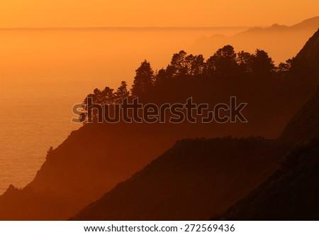 Big Sur cliffs, near Monterey, California, USA - stock photo