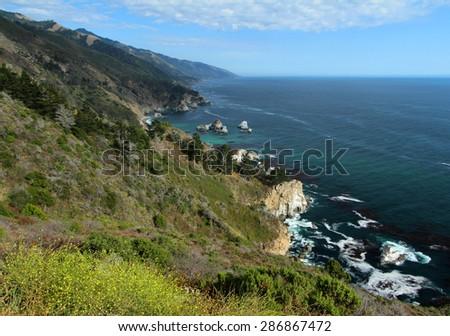 Big Sur Coast, Central California near Monterey, USA - stock photo