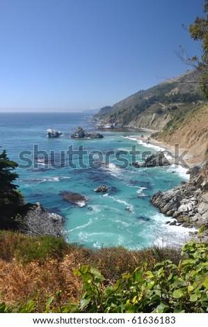 Big Sur Coastline, Looking North at Julia Pfeiffer Beach - stock photo