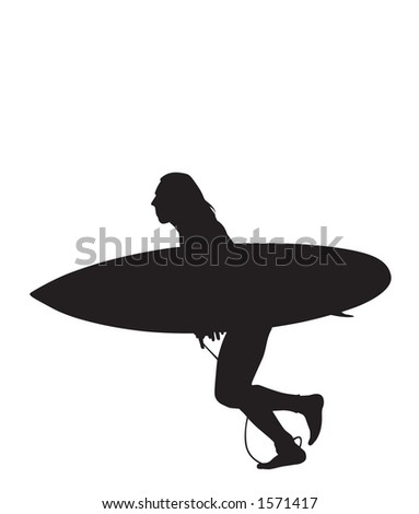 Big Surf Anticipation.  Surfer running to get the big wave.  Clipping Path Included. - stock photo