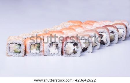 Big sushi assorti, close up shot  - stock photo