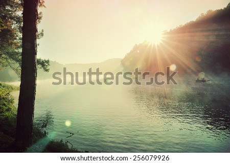 big swamp in the sunrise among mist in vintage style - stock photo