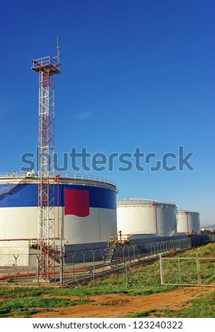 Big tanks in a fuel storage facility - stock photo