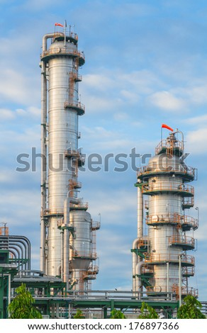 Big tanks of Refinery plant in cloudy day - stock photo