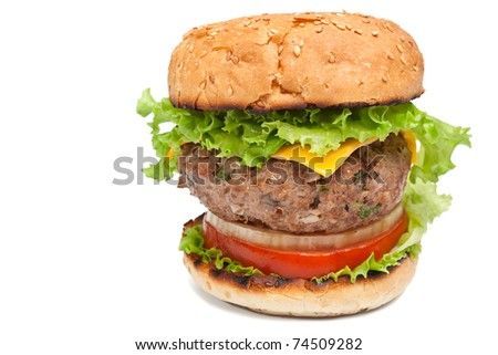 big tasty cheeseburger close-up on white background