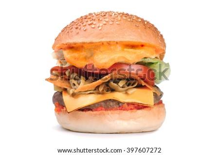 Big tasty mexican style  hamburger burger isolated on white background - stock photo