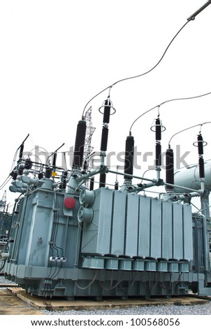 Big transformer in substation - stock photo