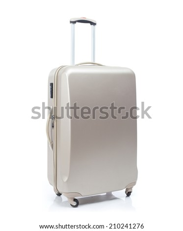 Big travel suitcase on wheels isolated white - stock photo