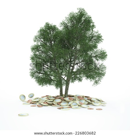 Big tree growing in stack of Euro money coins (3D Rendering) - stock photo