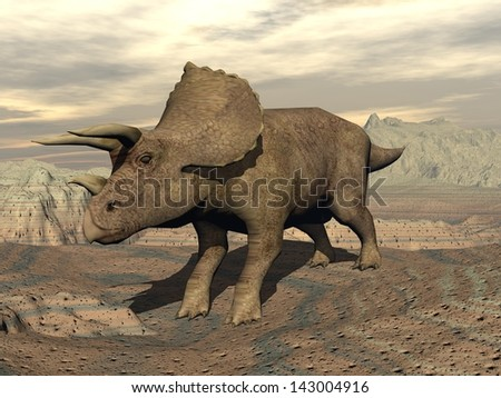 Big tricera dinosaur standing in the rocky desert by cloudy day - stock photo