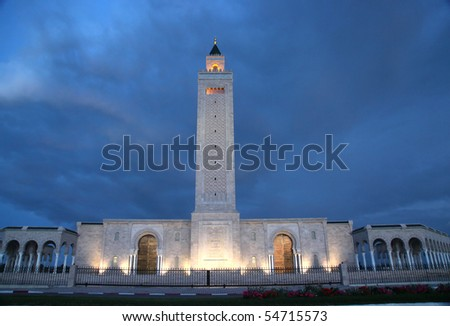 big Tunis mosque at night - stock photo