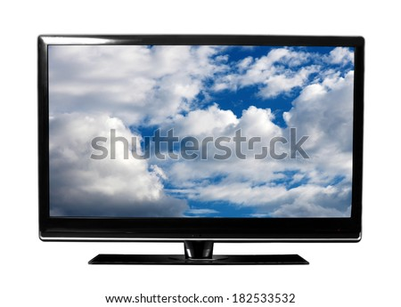 big tv with sky - stock photo