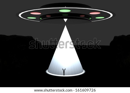 Big UFO kidnapping a man with big white light - stock photo