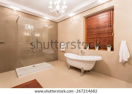 Big warm washroom with glass shower - stock photo