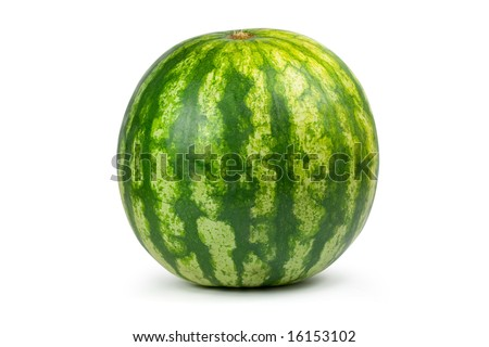 Big water melon. Isolated on white - stock photo