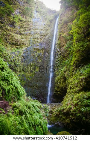big waterfall in the end of Levada Caldeirao Verde, Madeira, Portugal - stock photo