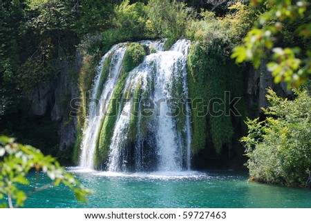 big waterfall view in the national Park of Plitvice in Croatia - stock photo