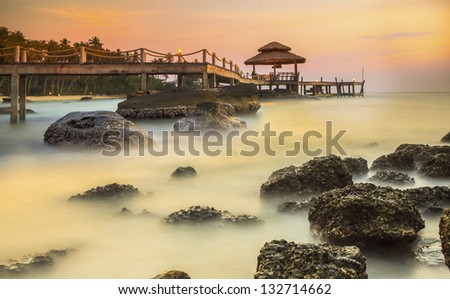 Big wave and the rock with sunset sky at Pattayabeach, Thailand. - stock photo