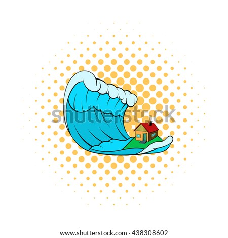 Big wave of tsunami over the house icon - stock photo