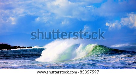 Big  wave on ocean - stock photo