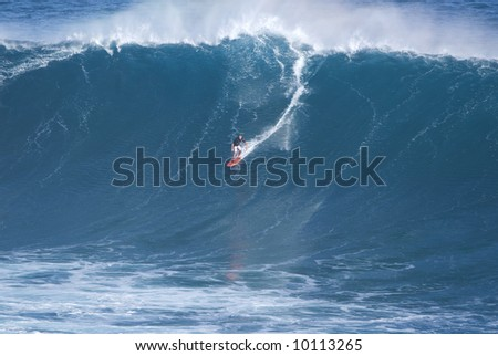 Big Wave Surfing at Jaws Maui Hawaii - stock photo