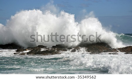 Big Waves, Storms River Mouth, South Africa - stock photo