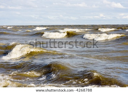 big waves surf at hurricane - stock photo