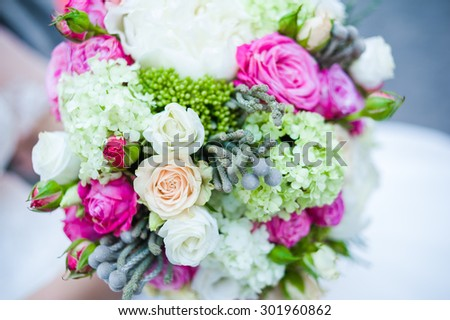 Big wedding bouquet before ceremony