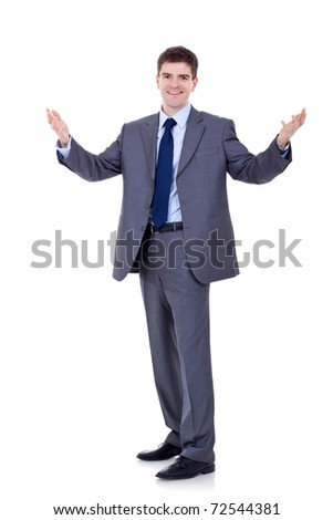 big welcome from a young business man over white - stock photo