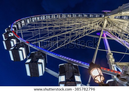Big wheel in Paris. A romantic thing to do in Paris: Have look over the city of love sitting in the big wheel.