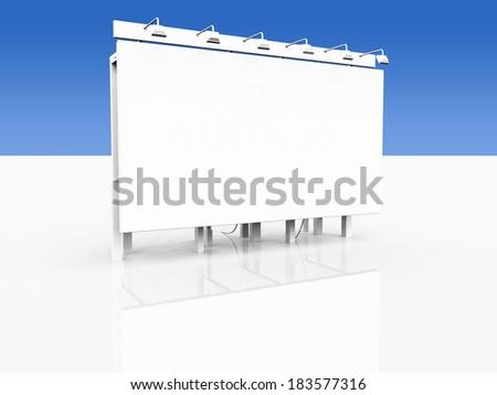 Big white advertising board 2 - stock photo