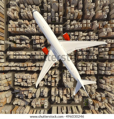 Big white airplane above the huge city. Skyscrapers under the airbus. 3D render image.