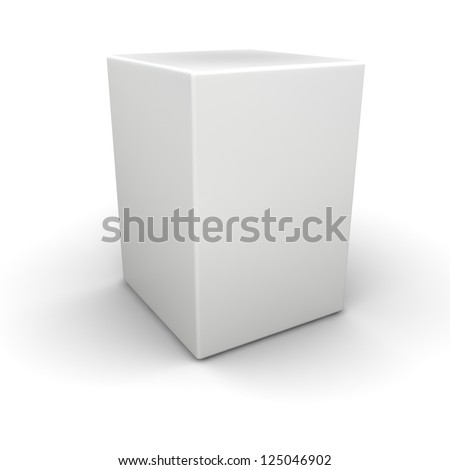 Big white box on white plane. Empty for any applications - stock photo