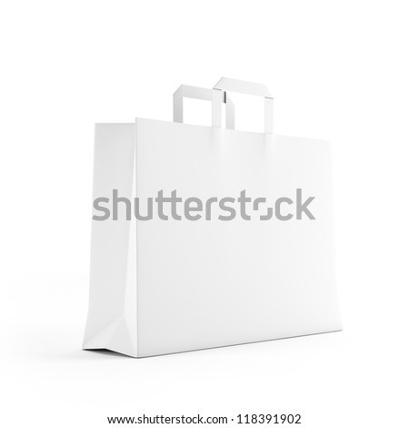 Big white paper bag isolated on white - stock photo