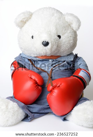 Big white Teddy Bear wear the red boxing glove - stock photo