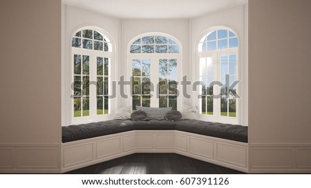 Big Window With Garden Meadow Panorama Minimalist Empty Space Background Classic Interior Design