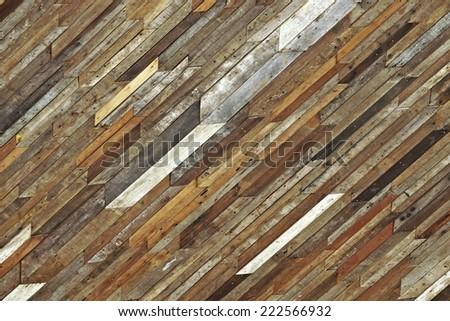 big wood plank wall  - stock photo