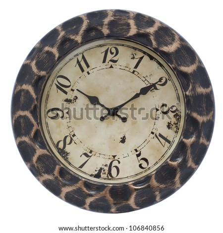 Big wood wall clock on white, isolated - stock photo