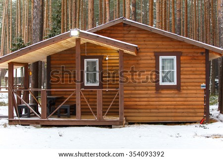 Big wooden bathhouse in winter