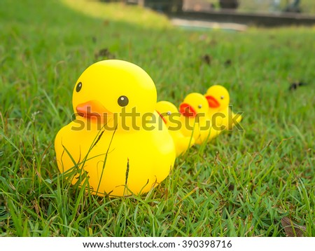 Big yellow duck leading group of small duck on glass field.