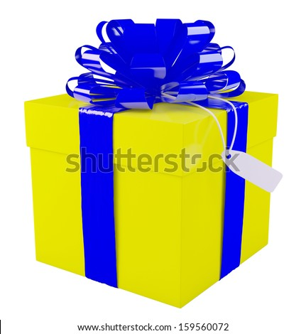 Big yellow gift box with a big blue bow, white background.