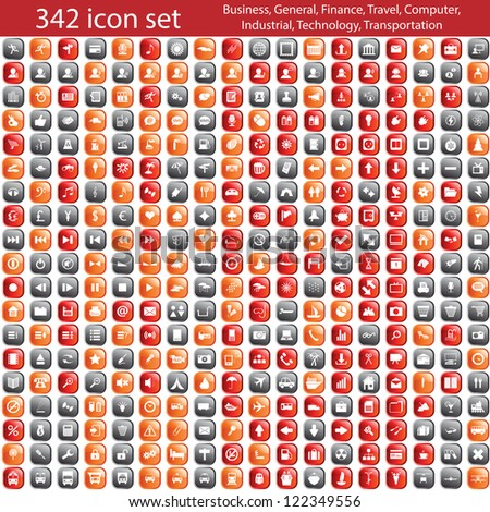 Biggest collection of different icons. Raster version - stock photo